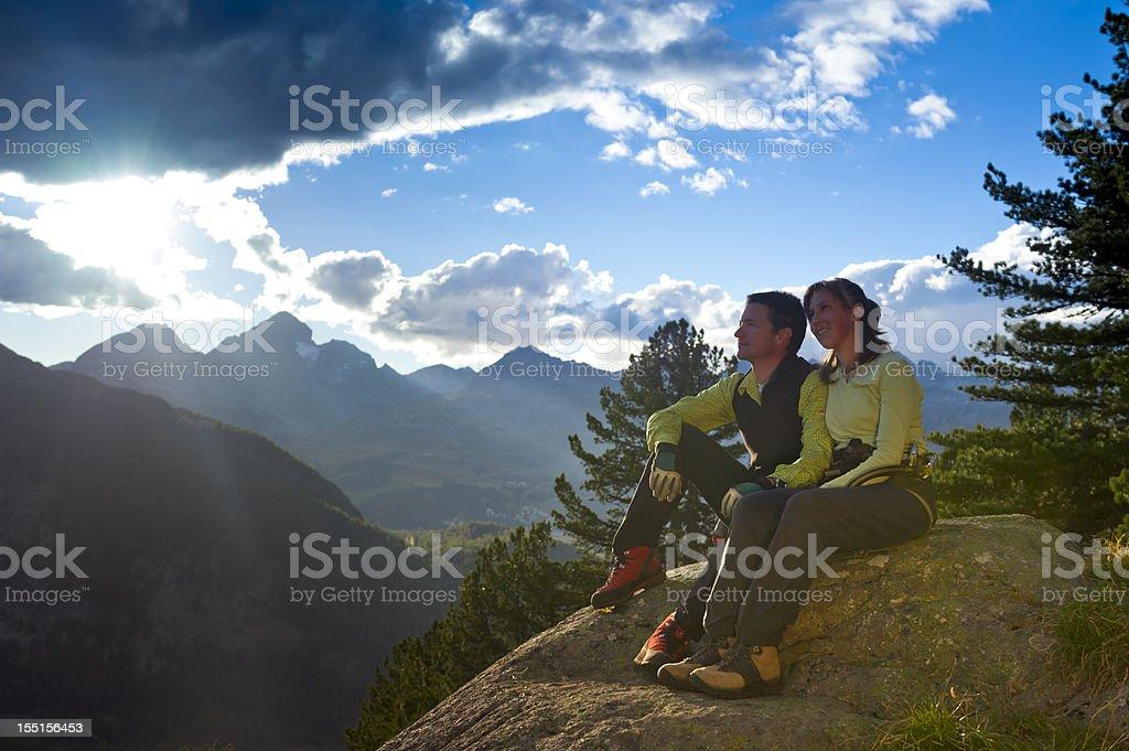 Couple at mountain sunrise royalty-free stock photo