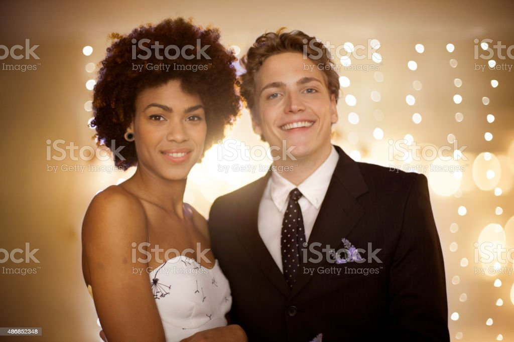 Couple at prom party stock photo
