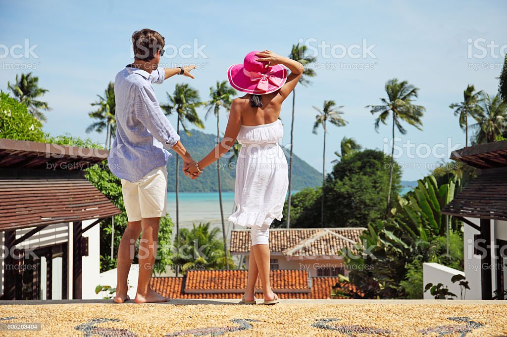 Couple at resort stock photo