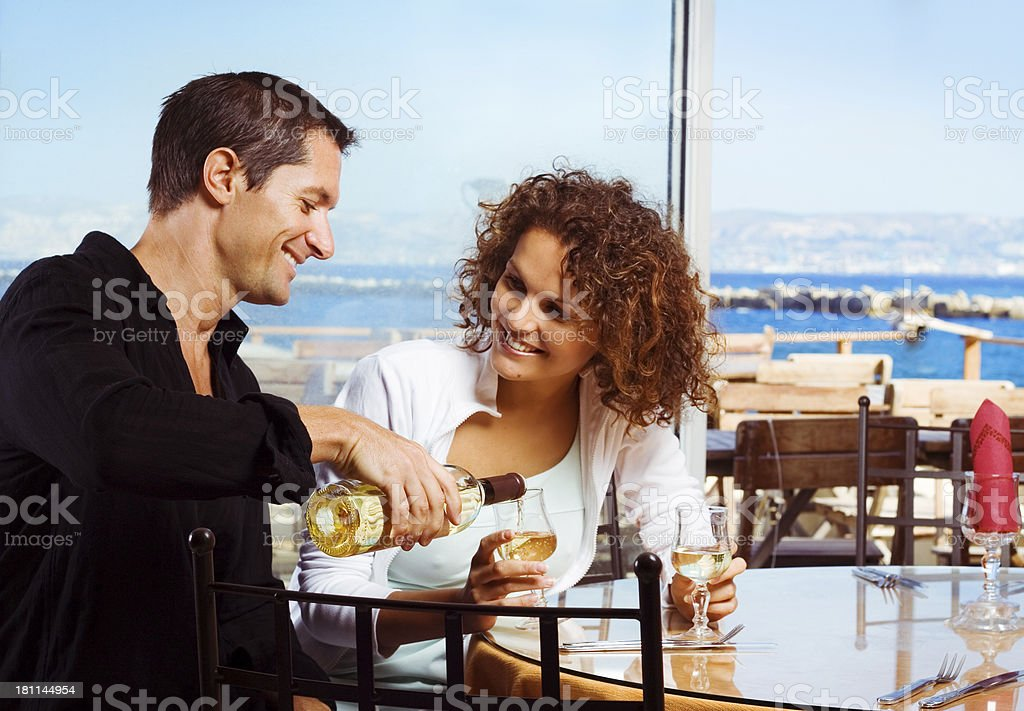 Couple at restaurant royalty-free stock photo