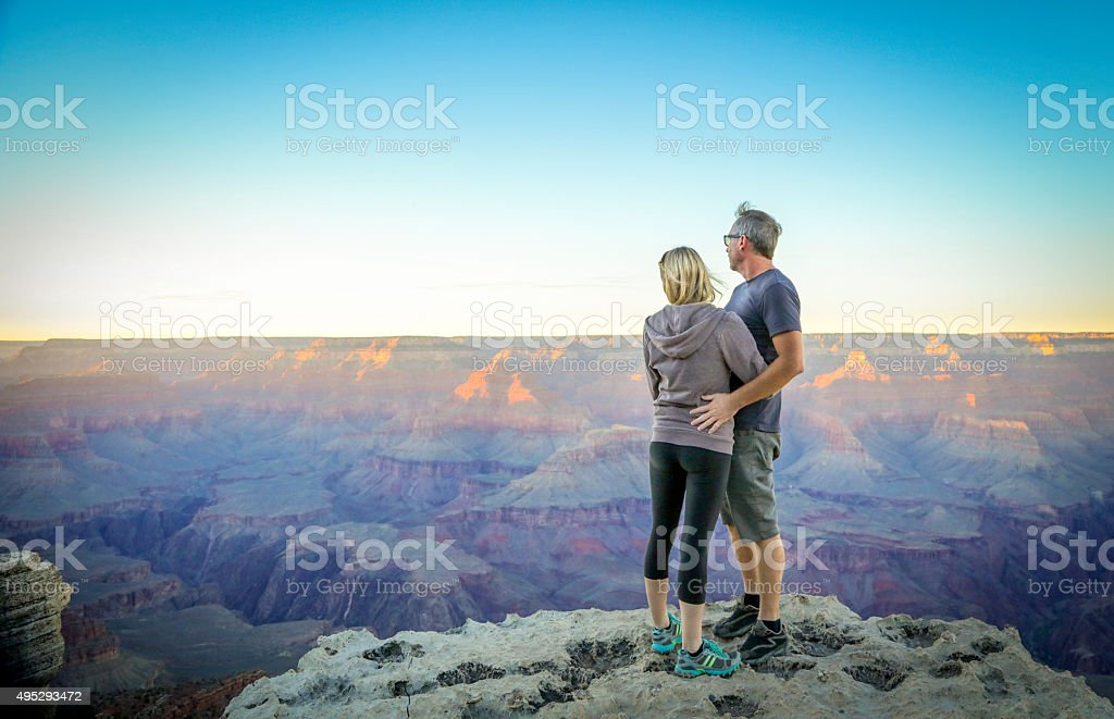 Couple at South Rim Grand Canyon stock photo