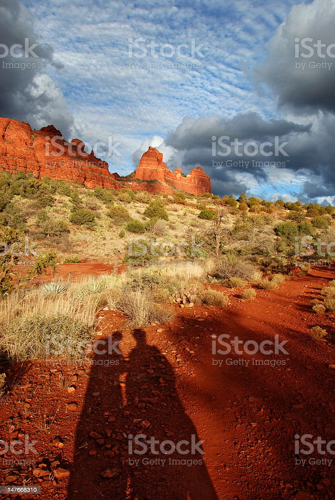 Couple at sunset in Sedona, Arizona royalty-free stock photo