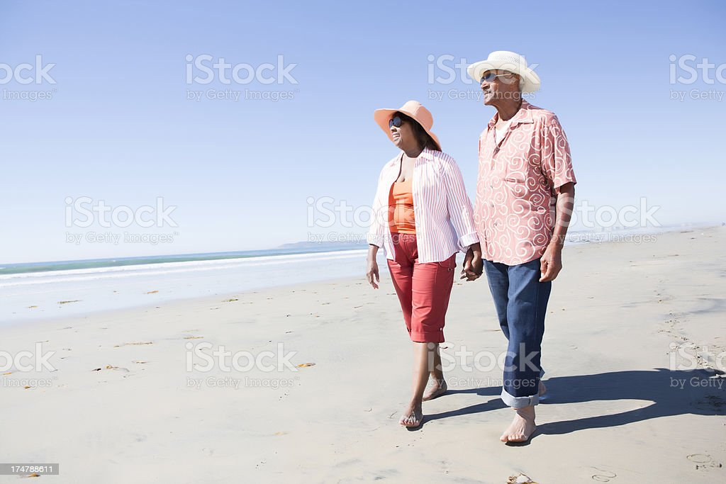 Couple at the beach stock photo