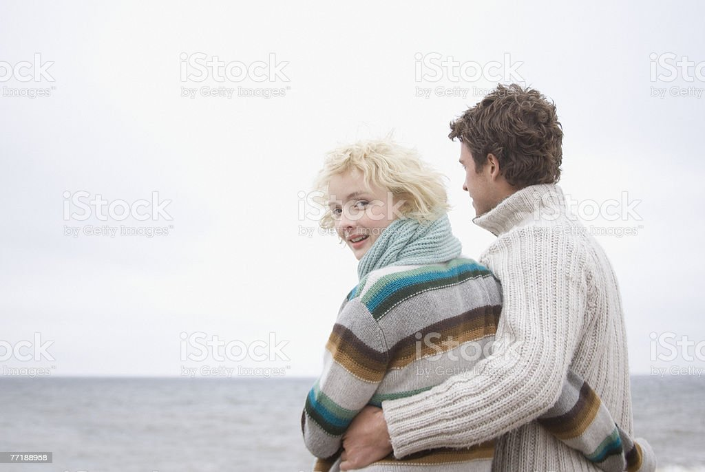 A couple at the beach royalty-free stock photo