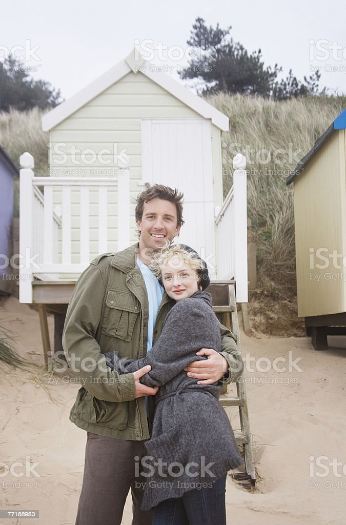 A couple at the beach stock photo