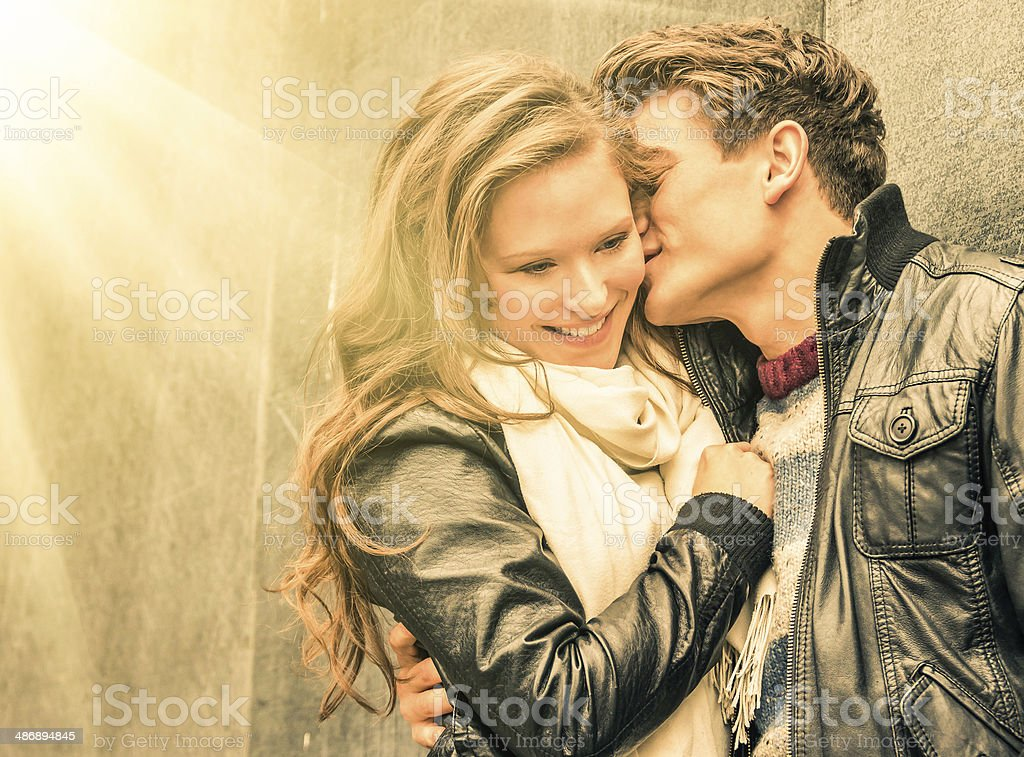 Couple at the beginning of a romantic love story stock photo