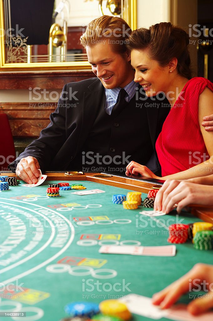 Couple at the casino royalty-free stock photo