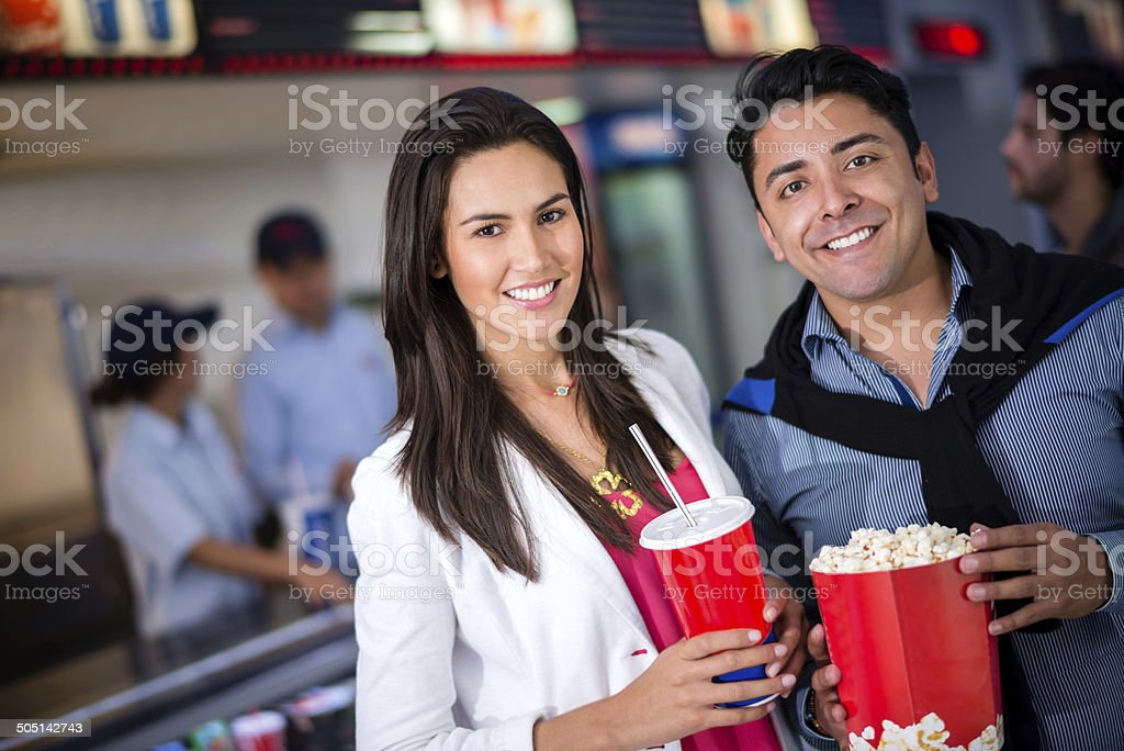 Couple at the cinema stock photo