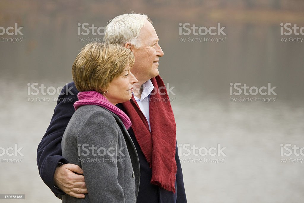 Couple at the lake royalty-free stock photo