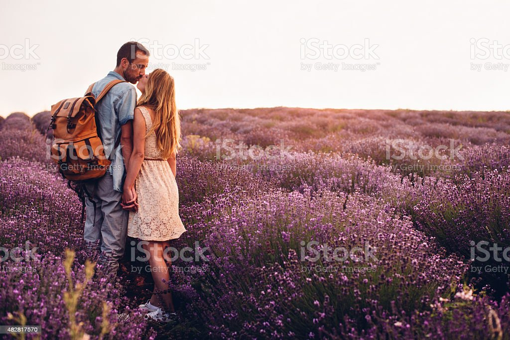 Couple at the lavender field stock photo