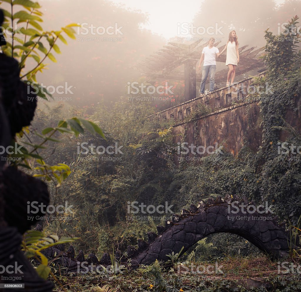 couple at the mystical hotel stock photo