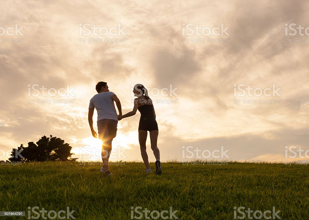 Couple at the park stock photo