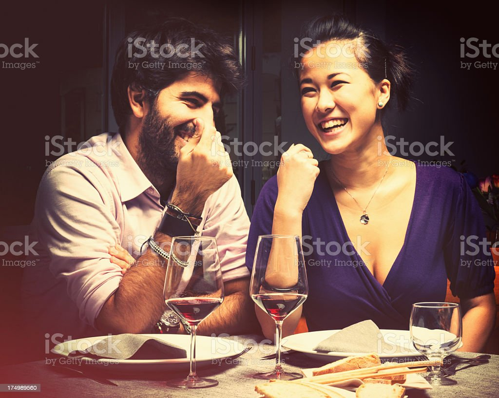 Couple at the restaurant stock photo