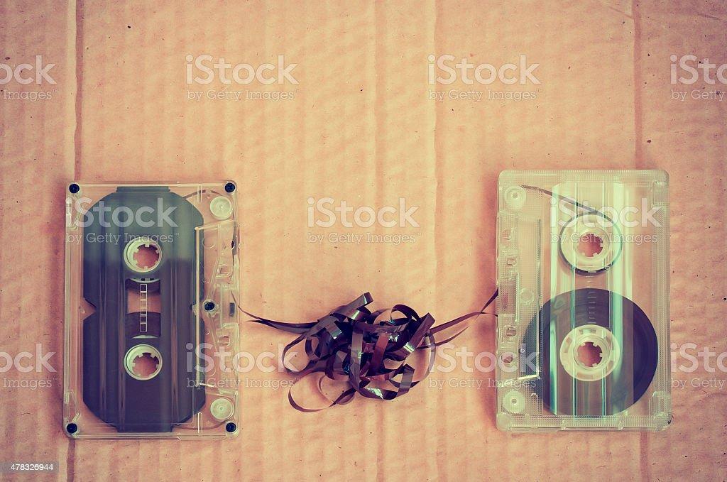 couple audio cassettes stock photo