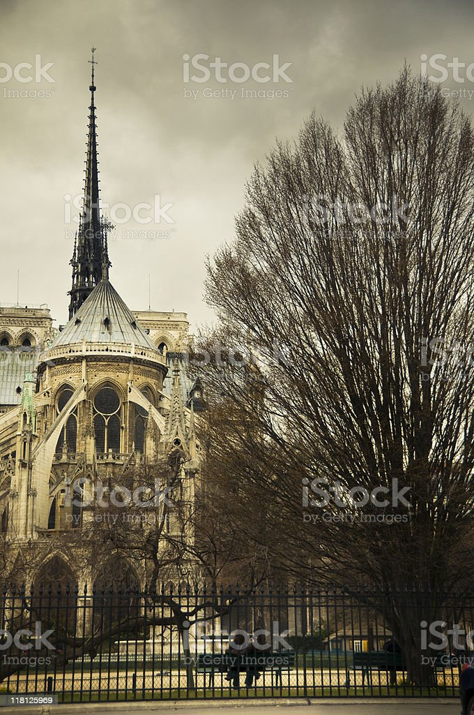 Couple behing Notre dame cathedral stock photo