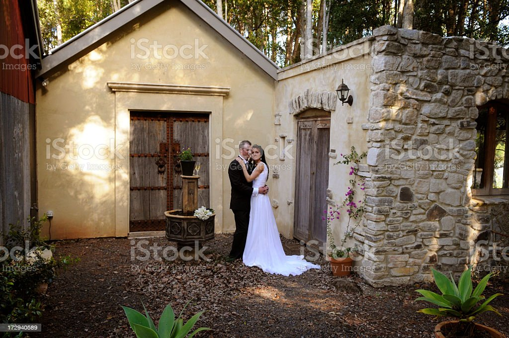 Couple by the fountain royalty-free stock photo