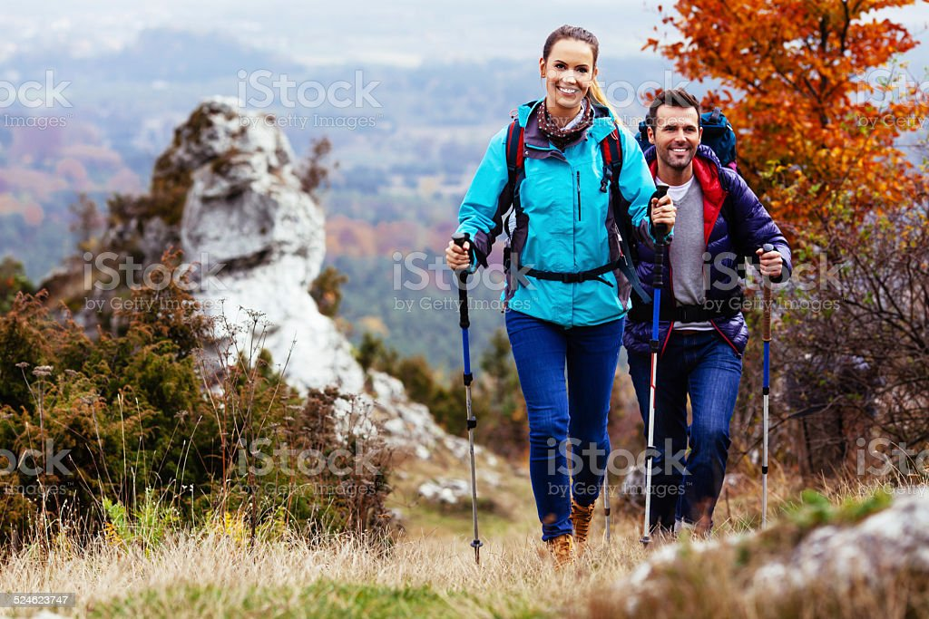 Couple camping stock photo