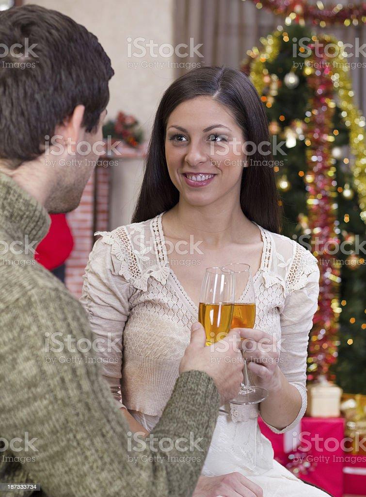 couple celebrate Christmas night royalty-free stock photo