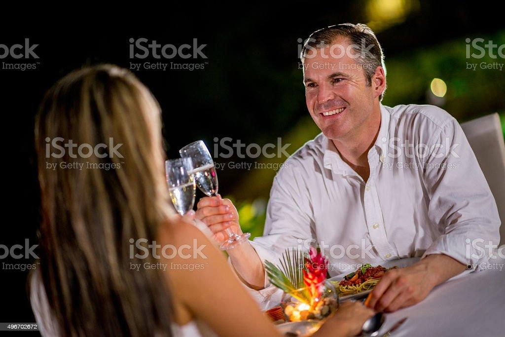 Couple celebrating an anniversary stock photo