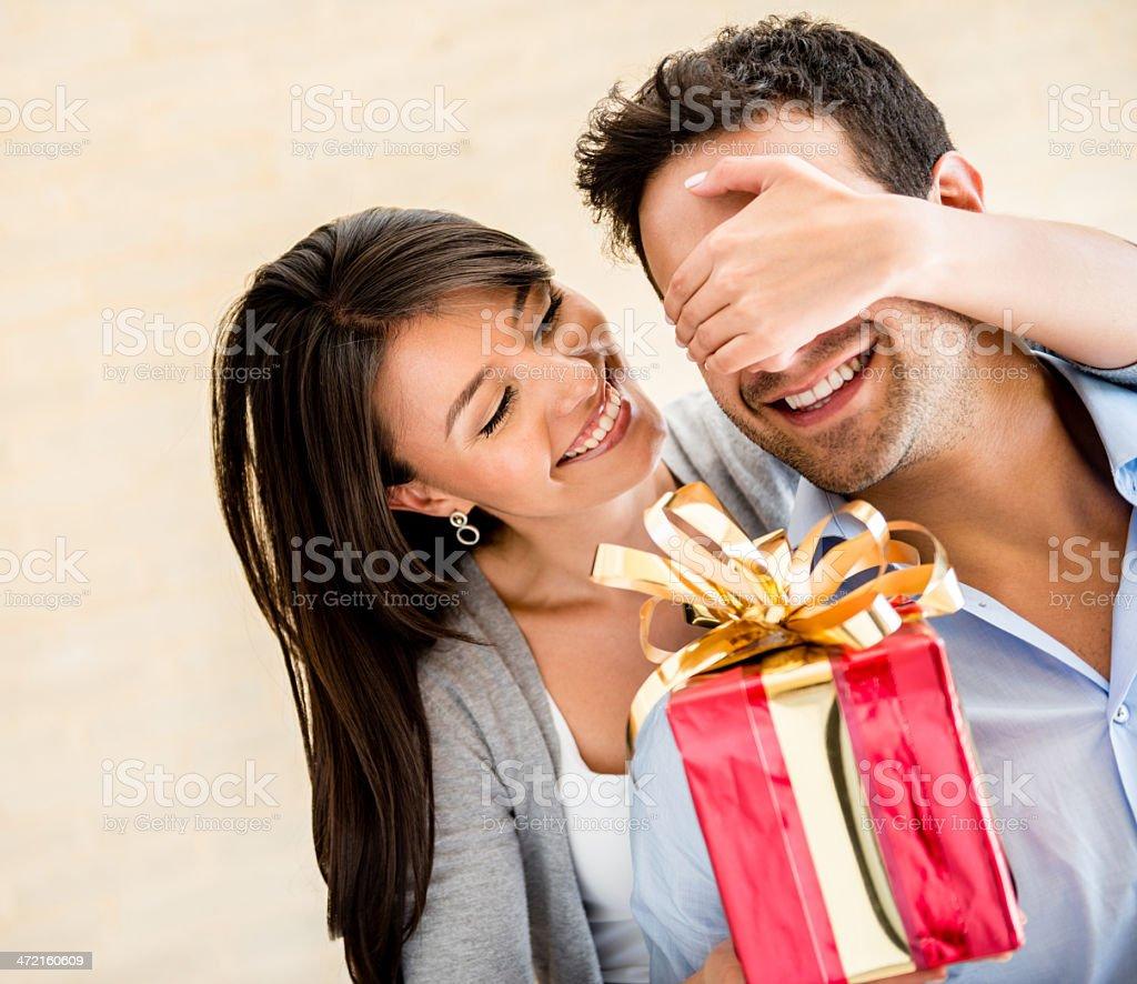 Couple celebrating Valentine's Day stock photo