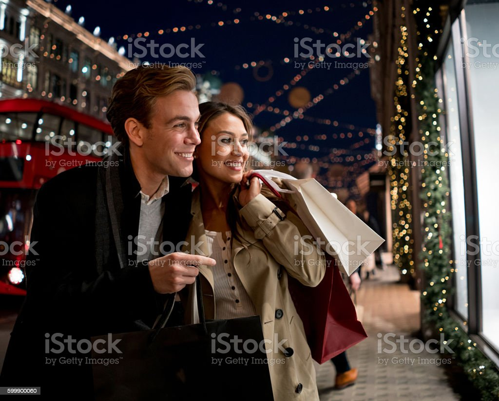 Couple Christmas shopping in London stock photo