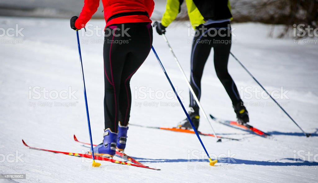 Couple Cross Country Skiing in Engadin stock photo