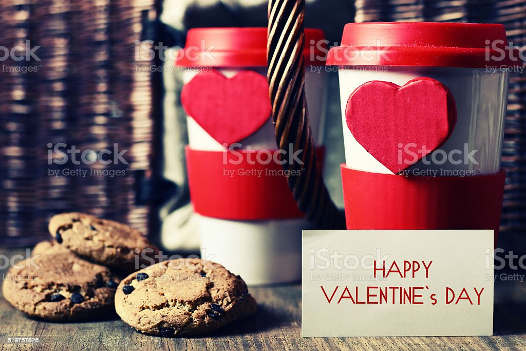 couple cup valentine day stock photo