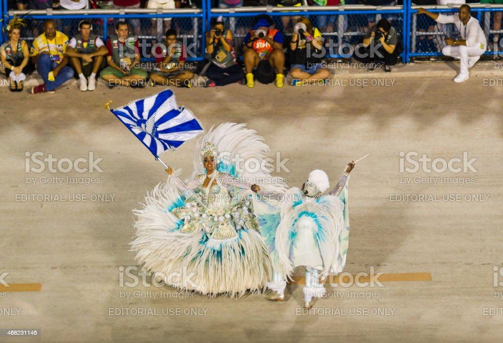 Couple Dancing in Sambadrome Carnival Parade, Rio de Janeiro stock photo