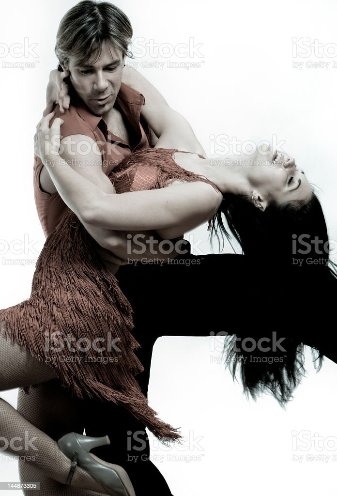 Couple dancing on white background stock photo
