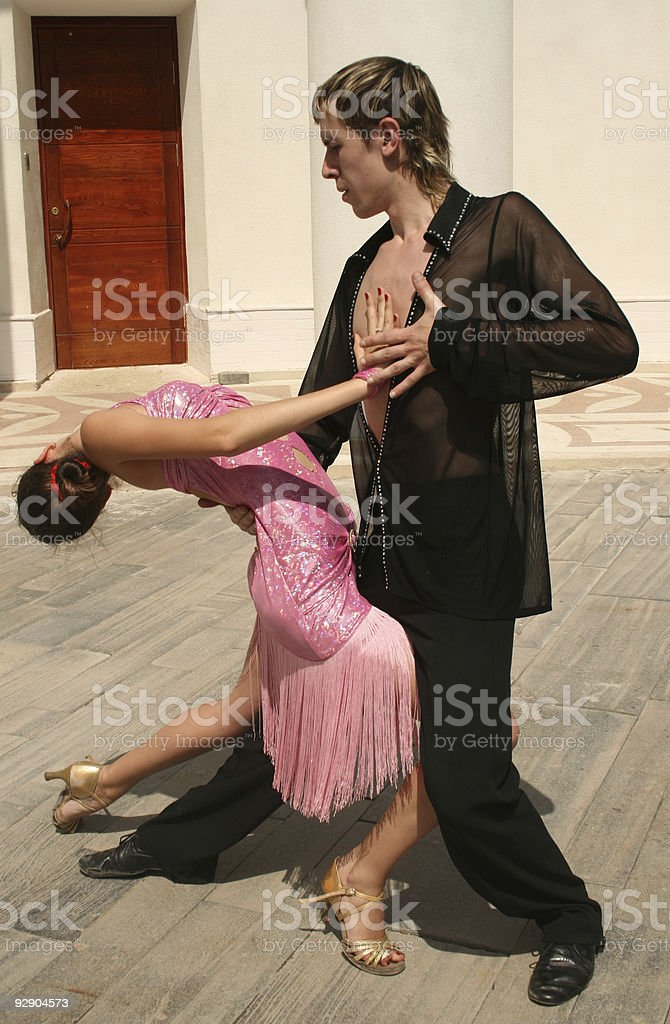 Couple dancing outdoor royalty-free stock photo