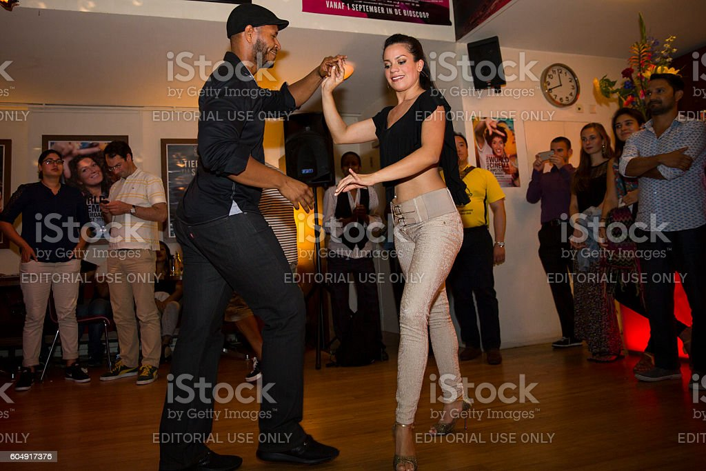 couple dancing salsa at World Cinema Amsterdam festival closing party stock photo