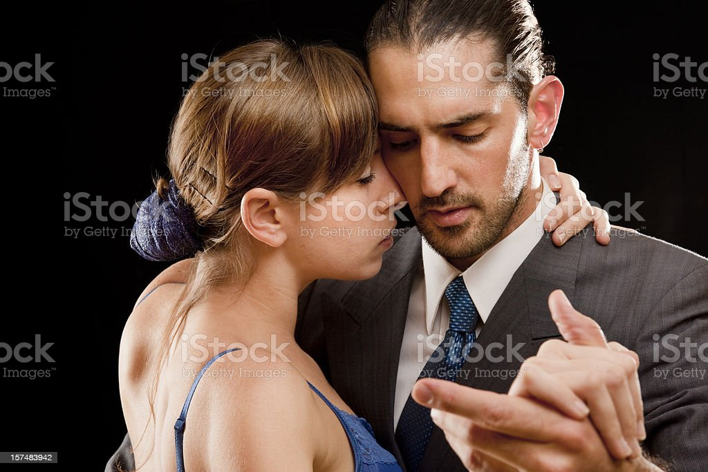 Couple dancing tango in Buenos Aires stock photo