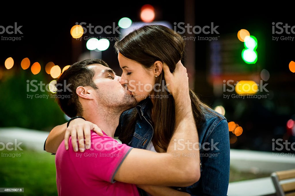 Couple dating at night stock photo