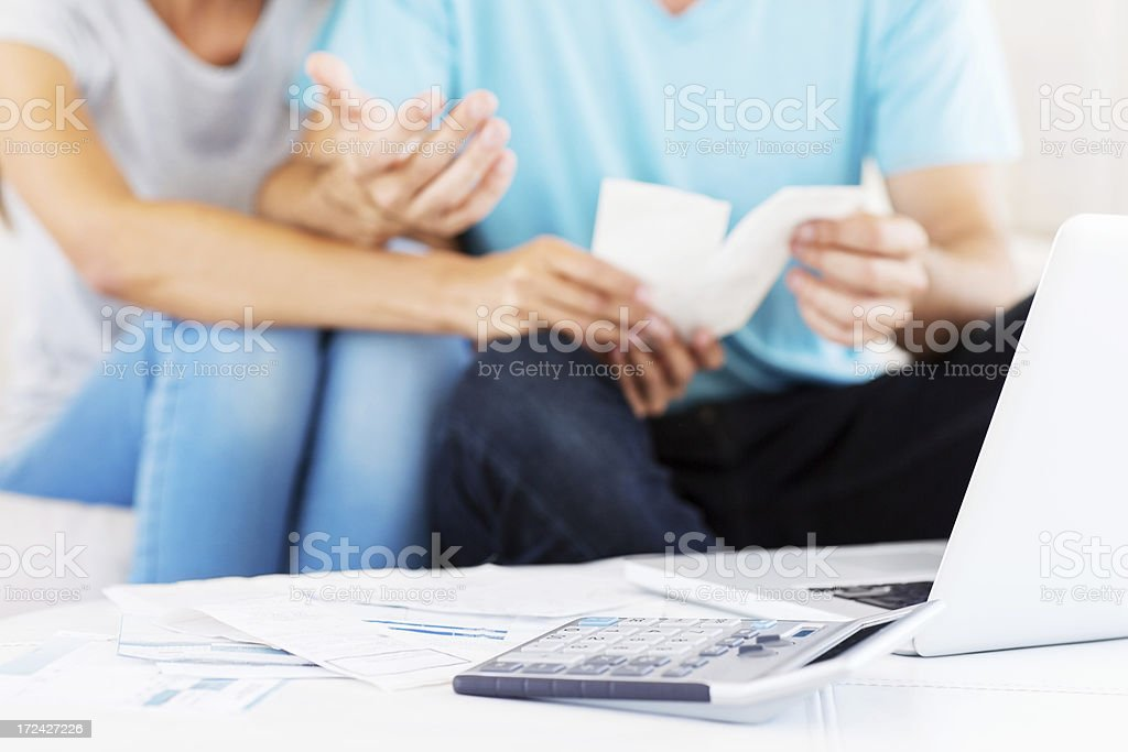 Couple Dealing With Home Finances royalty-free stock photo
