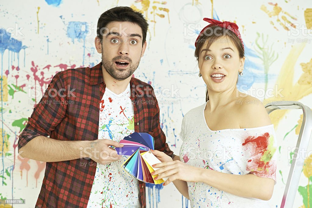 Couple decorating home royalty-free stock photo