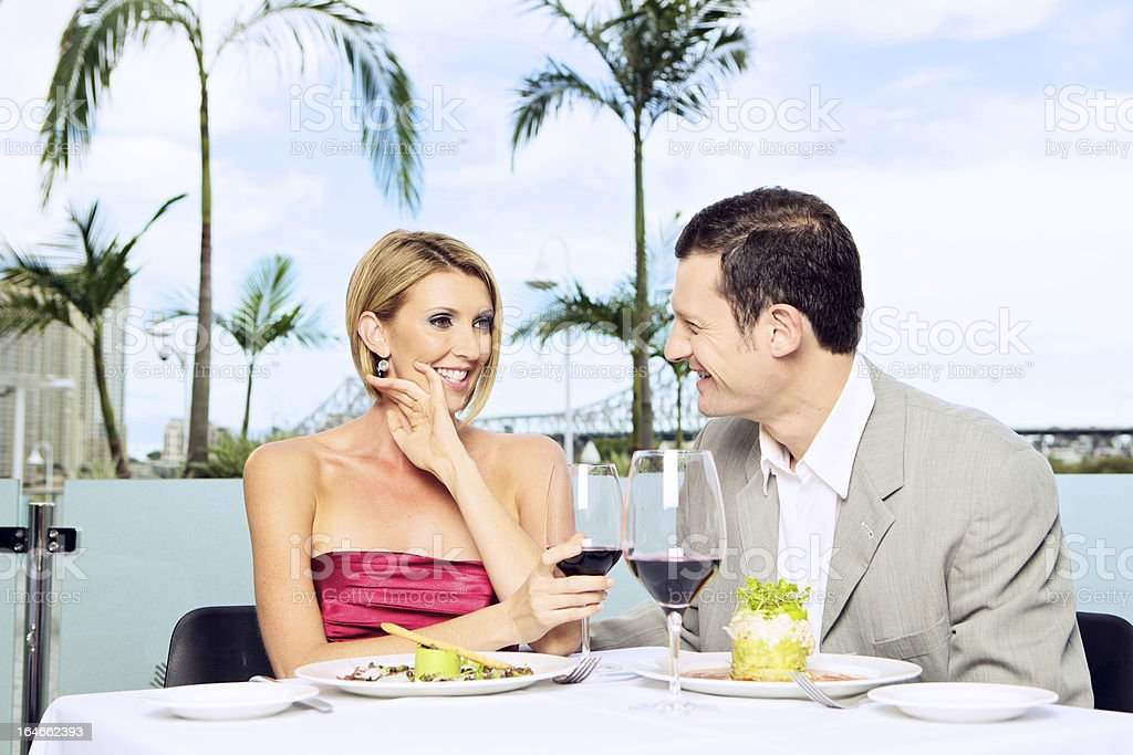 Couple Dining Outdoors royalty-free stock photo
