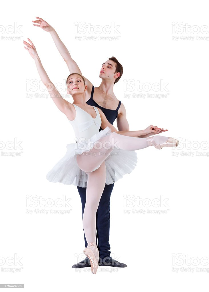 Couple doing ballet. Isolated on white royalty-free stock photo
