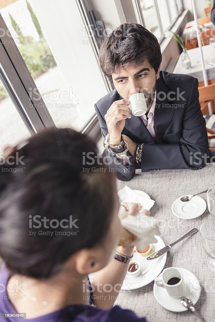 Couple doing breakfast royalty-free stock photo