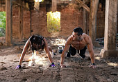 Couple doing push ups together