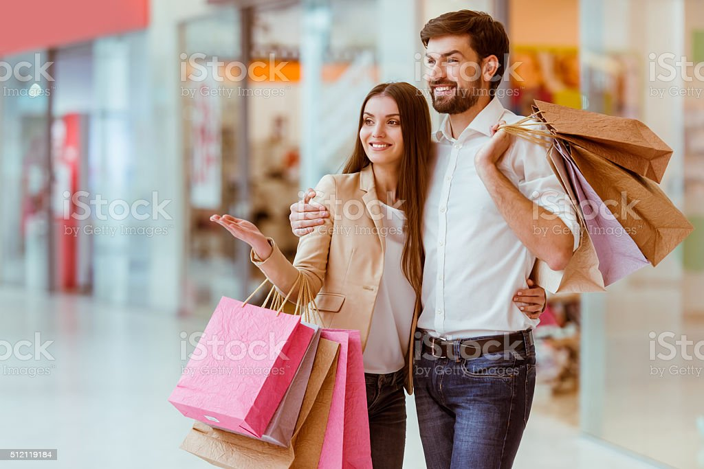 Couple doing shopping stock photo