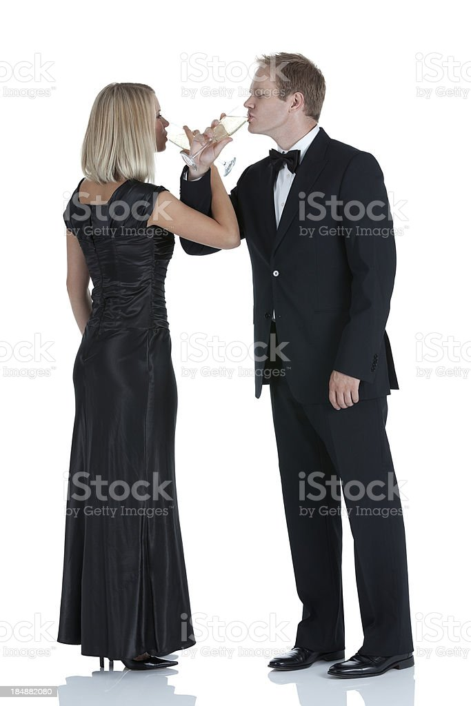 Couple drinking champagne royalty-free stock photo