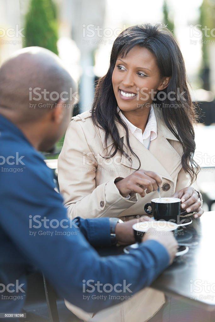 Couple drinking coffee. stock photo