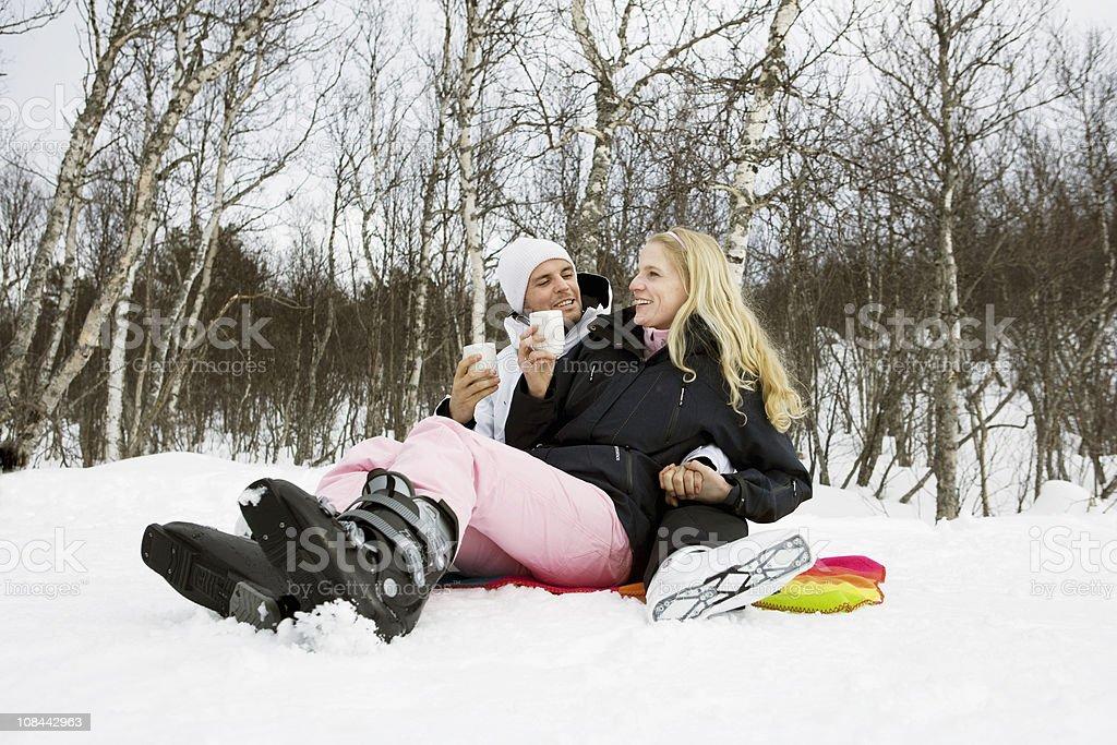 Couple drinking tea stock photo