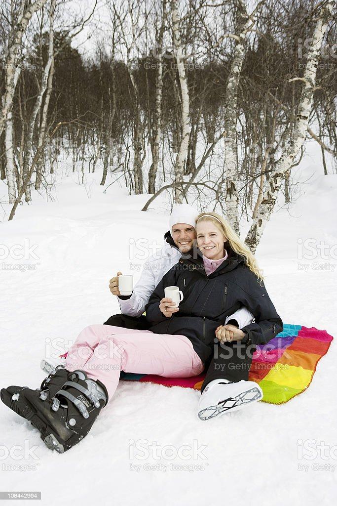 Couple drinking tee stock photo