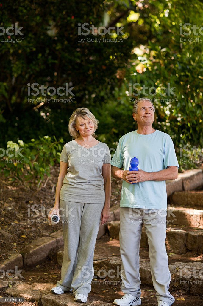 Couple drinking water royalty-free stock photo