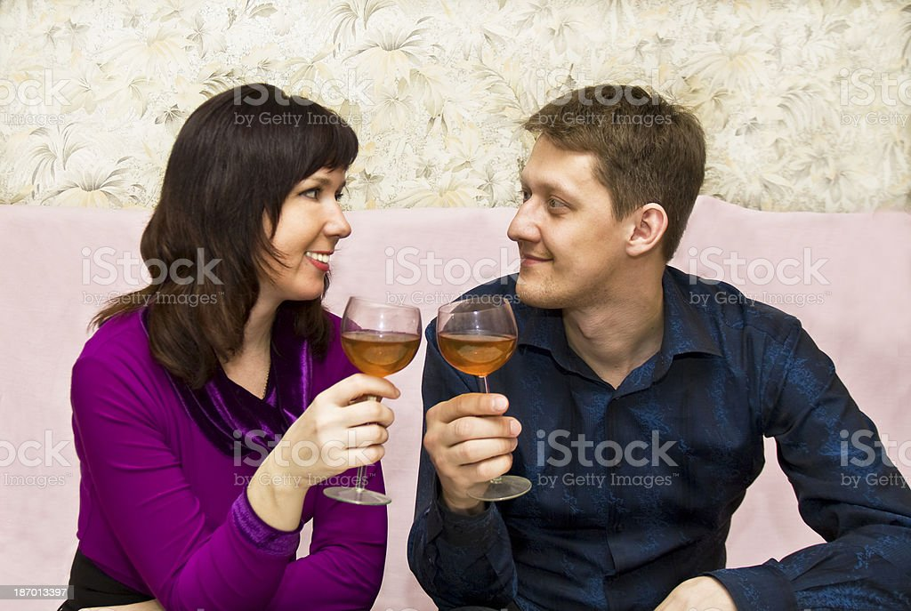 Couple drinking wine royalty-free stock photo