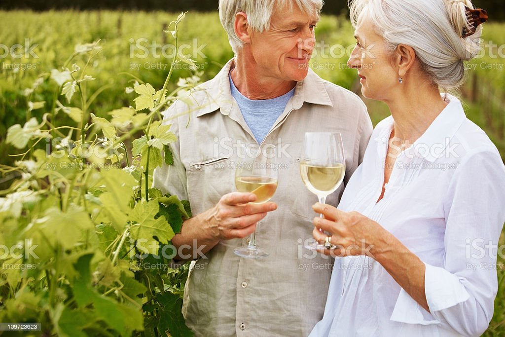 Couple drinking wine together royalty-free stock photo