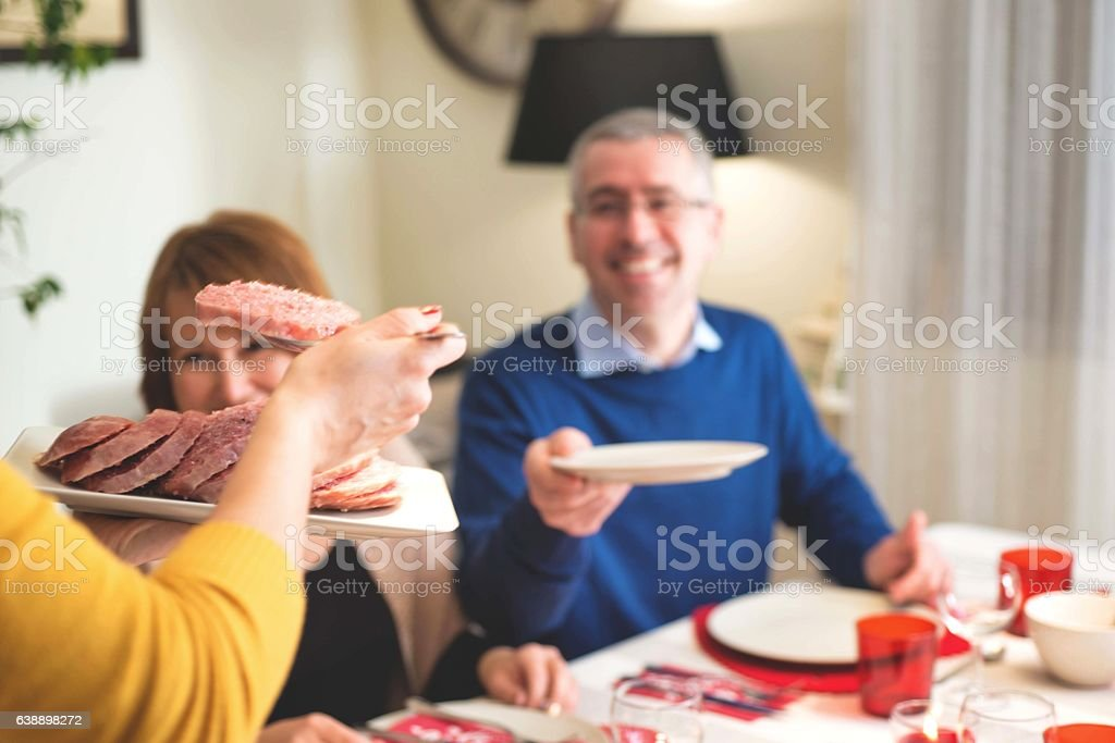 Couple During 2018 New Year's Eve Party in Italy stock photo