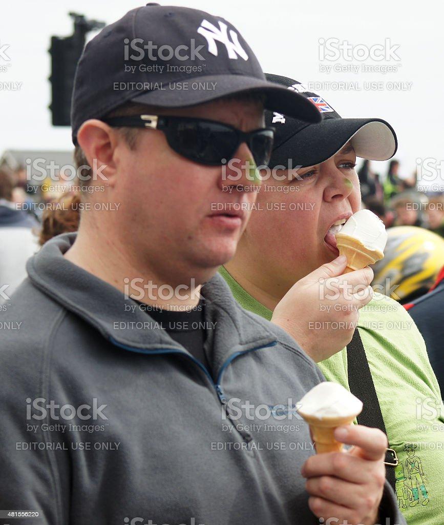 Couple eating ice cream stock photo
