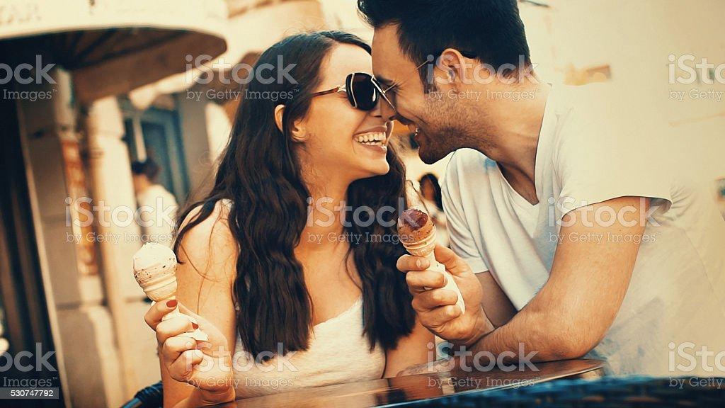 Couple eating ice cream. stock photo